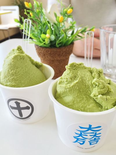 Enjoying A Meal Sweet Goat Milk Powdered Green Tea  Gelato