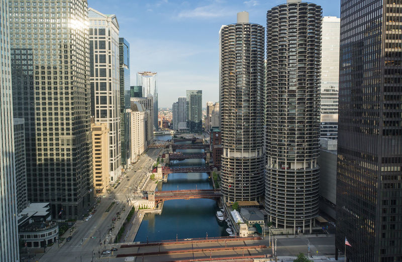 Cityscape Of Buildings Between Chicago River