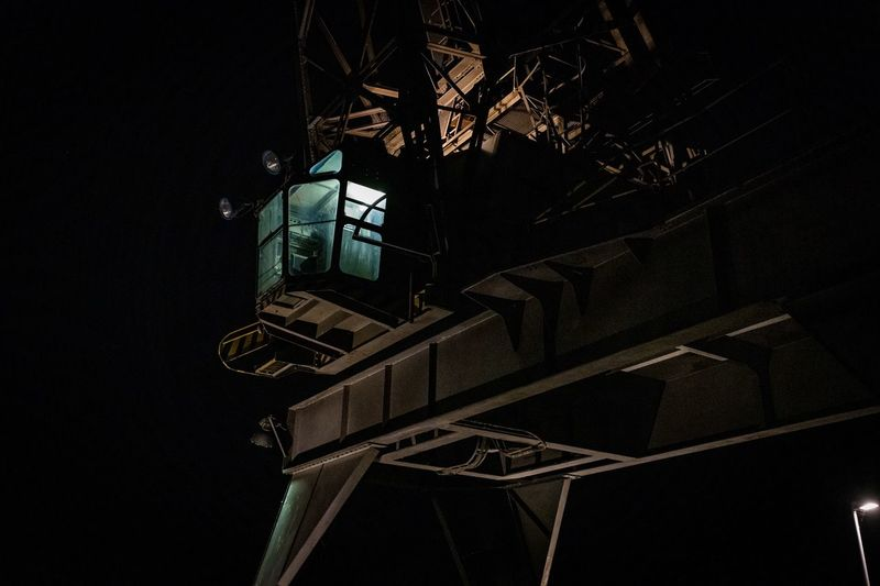 Harbour Crane Nightshot Crane Low Angle View Night Architecture Building Exterior Illuminated No People City Construction Industry Outdoors