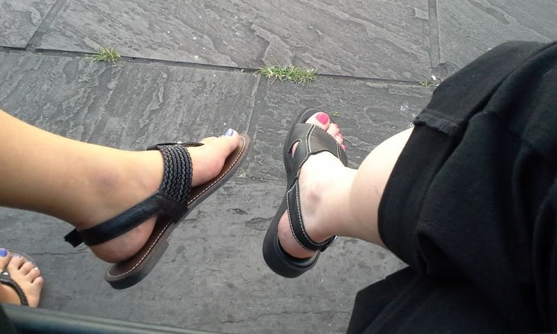 Mother daughter trip time, sitting on a bench by the river in New Orleans, showing off our sandals and painted toes. Feet Flagstones Human Foot Legs Leisure Activity Mother Daughter  Mother Daughter Time New Orleans Personal Perspective Sandals Shoe Sitting Toes Togetherness Vacation Women EnjoytheNewNormal