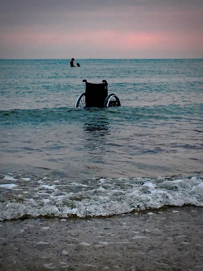 You, me and the sea Love Beach Beauty In Nature Horizon Horizon Over Water Land Leisure Activity Lifestyles Men Motion Outdoors People Real People Scenics - Nature Sea Sky Water Wave Wheelchair You And Me