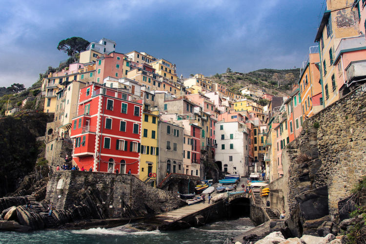 Cinque Terre Colored Harbor Rock Architecture Building Building Exterior Built Structure City Cloud - Sky Day Land Nature No People Outdoors Residential District Rock Rock - Object Sea Seaside Sky Transportation Village Water