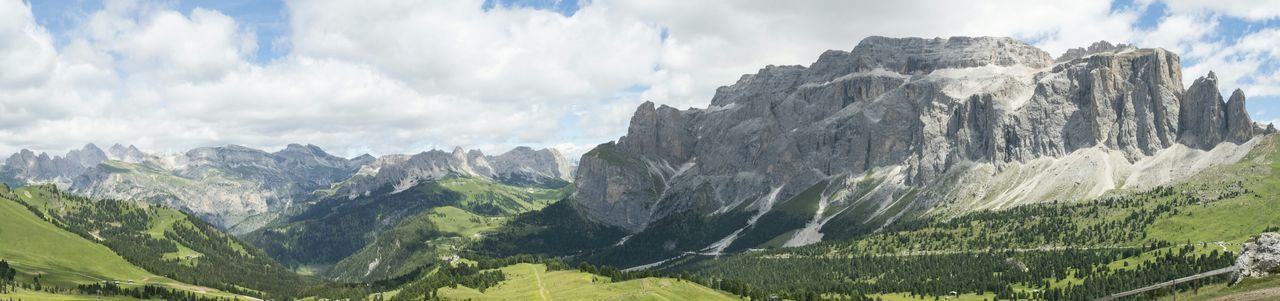 Mountain Mountain Range Cloud - Sky Outdoors Day Sky Road Tree Nature People Dolomites, Italy Mountain Peak Sellaronda Sella_gruppe No People Beauty In Nature Landscape