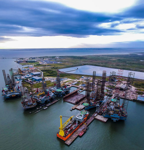 Drone  Texas Cargo Container Cloud - Sky Commercial Dock Day Dronephotography Freight Transportation Harbor High Angle View Horizon Over Water Mode Of Transport Moored Nature Nautical Vessel No People Oil Pump Outdoors Scenics Sea Shipping  Sky Transportation Water