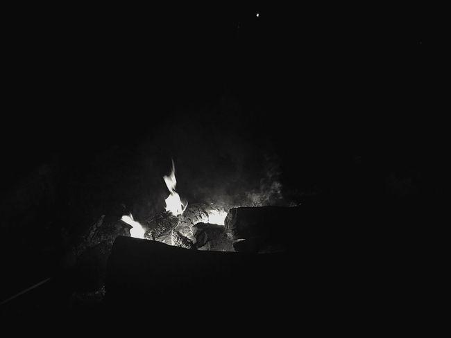 Flame Burning Fire - Natural Phenomenon Glowing Heat - Temperature Copy Space Night Fire Dark Bonfire Lit Firewood Spark Heat Campfire Darkroom
