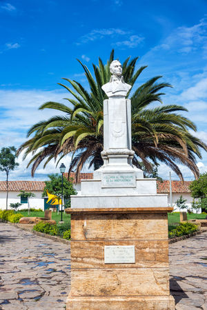 Bust of Antonio Narino in a plaza in Villa de Leyva, Colombia Antonio Narino Architecture Blue Boyaca Bust  Colombia Colonial Historic Latin America Old Palm Tree Palm Trees Plaza Sky South America Statue Tourism Town Travel Villa De Leiva Villa De Leyva  White