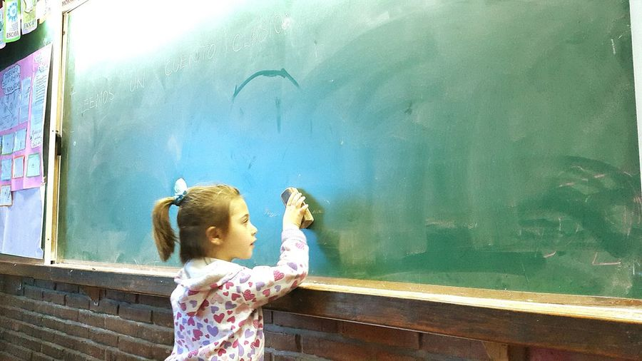 Cute Girl Erasing Blackboard At School