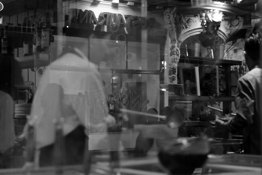 cooking .. waiting .. eating .. talking .. drinking .. paying .. confusion .. Black And White Monochrome Street Photography Walking In London Walking In The Street London Streets Reflection Ale, Beautiful Name For A Reflection. Reflections In The Glass Windows Lifestyles Captured Moment Glass - Material Take Photos EyeEm Gallery City Life City Street Nightlife Large Group Of People The Week on EyeEm London Soho