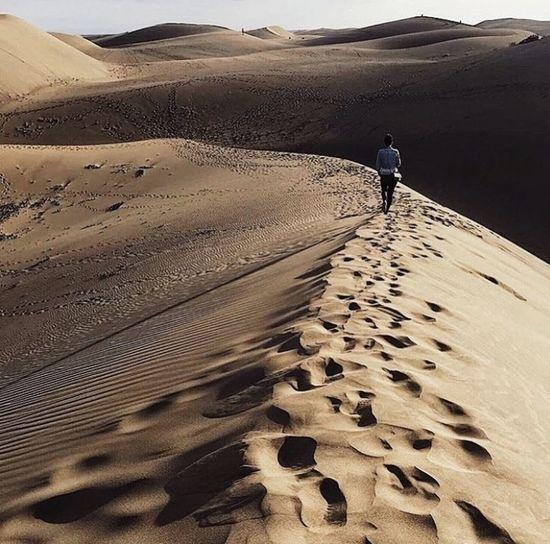 Rear view of man walking on sand dune