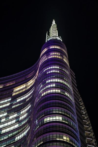 Unicredit Tower Porta Nuova Gae Aulenti Milan By Night Architecture Night Building Exterior Built Structure Low Angle View Modern Skyscraper