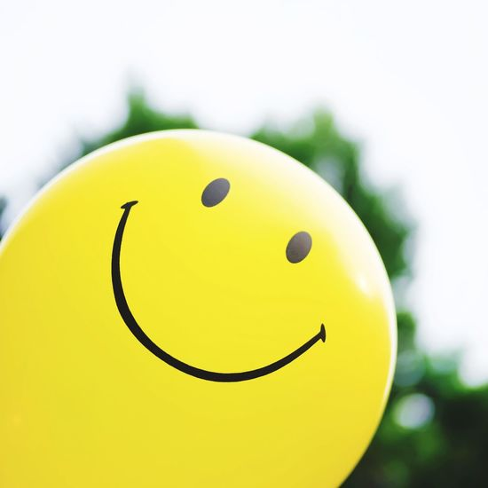 Yellow Smile Balloon. Park Sky Tree Balloon Smile Smiling Happy Happiness Freshness Cute Lovely Healthy Good Morning Good Yellow Anthropomorphic Face Anthropomorphic Smiley Face Business Finance And Industry Close-up Smiley Face Circle Helium Balloon Helium Circular