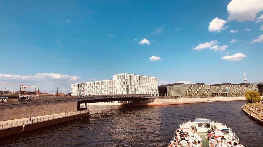 Am Hauptbahnhof Berlin EyeEm Selects Architecture Sky Built Structure Building Exterior Water Cloud - Sky River Sunlight Day City Building Transportation Outdoors