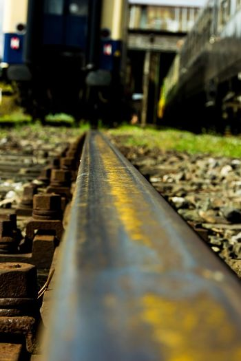 Rail Railway EyeEm Gallery EyeEm Selects EyeEm Best Shots The Way Forward Direction No People Diminishing Perspective Transportation Rail Transportation Focus On Foreground Close-up Outdoors Railroad Track Built Structure Nature Architecture Track Day Surface Level Metal Sunlight vanishing point City