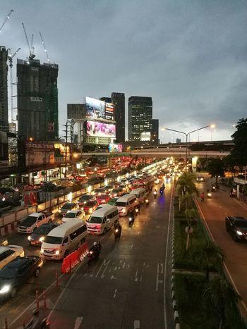 Traffic Jam City Street Outdoors Night People Bangkok, Thailand Central Ladpraw It Will Rain