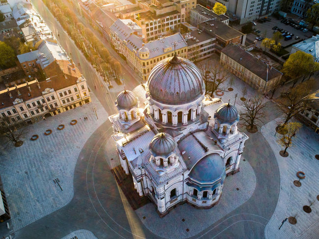 Kaunas Lithuania Lietuva Soboras Sobor Church City Center Urban Cityscape Pedestrian Walkway Sunset Golden Hour Aerial View Drone  Square Architecture Building Exterior Built Structure High Angle View Tourism History Architecture Rooftop Religion Cupola Capture Tomorrow