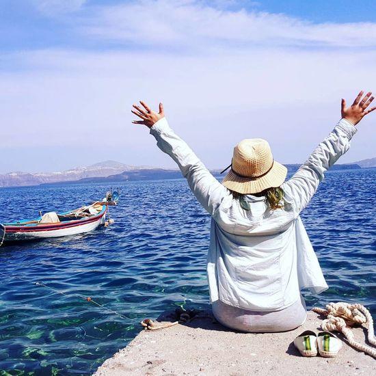 I miss the sea!!! Sea And Sky Sea Blue Sky Blue Bluesea GREECE ♥♥ Happyday Happiness Wonderful View Wonderful Day Greece Islands Memories Nature Santorini, Greece Santorini View Greece Beautiful Bluesky Imissit Iloveit
