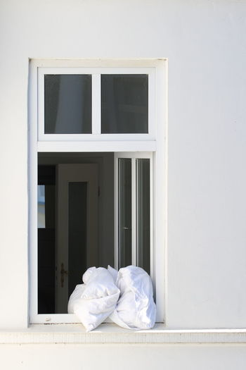 Architecture Day Early Morning Fresh Air No People Open Window Outdoors Pillows Pillows In Window White Color Window
