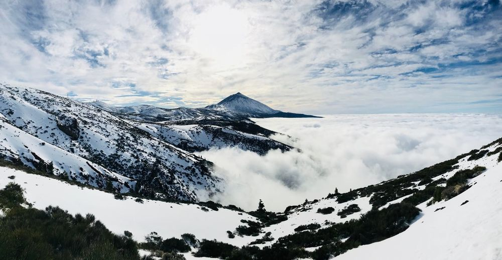Teide National Park Panoramic IPhone Canary Islands Tenerife Island Teide National Park Teide Tenerife Snowcapped Mountain Beauty In Nature Nature Outdoors Tranquil Scene Weather Mountain Range Tranquility Day Landscape No People Peak