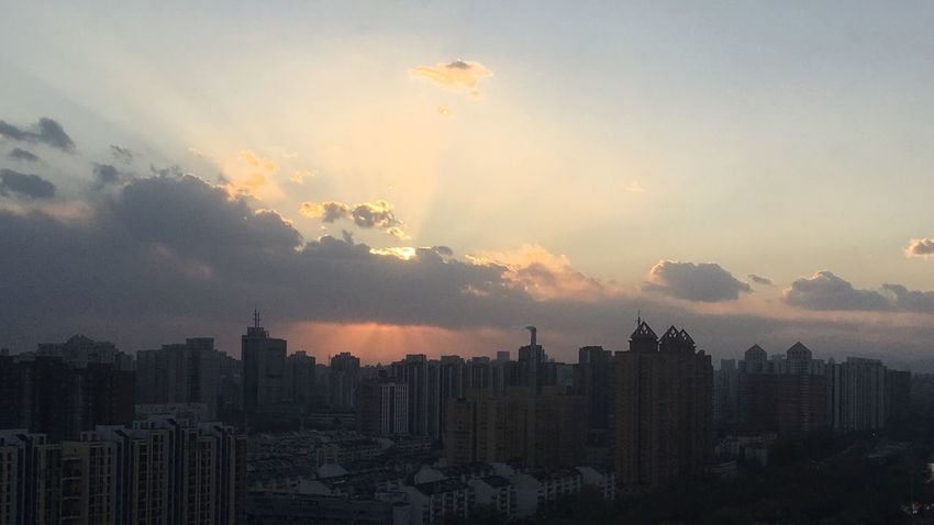 The sunshine, the power Sunset Skyscraper Cityscape Architecture Building Exterior Sky City Built Structure Cloud - Sky No People Modern Sun Urban Skyline Travel Destinations Outdoors Nature Day