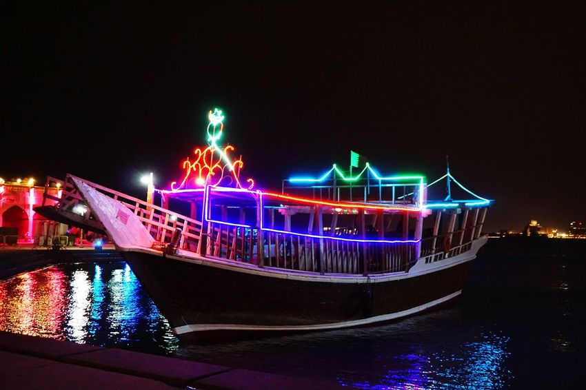 Night Illuminated Outdoors Arts Culture And Entertainment Multi Colored No People City Nautical Vessel Cityscape Neon A6000photography Doha,Qatar Doha City Eyeem Philippines The Week On EyeEm Travel Journey Sea