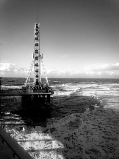 Waves, Ocean, Nature Wheel Blackandwhite Blackandwhite Photography Beaches Beachphotography Beach Life Scheveningenbeach Scheveningen  Scheveningen Pier Cold Temperature Colddays Windy Day Windy No People Water