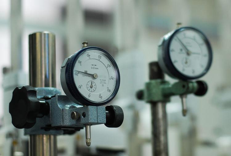Close-up of gauges in machine part