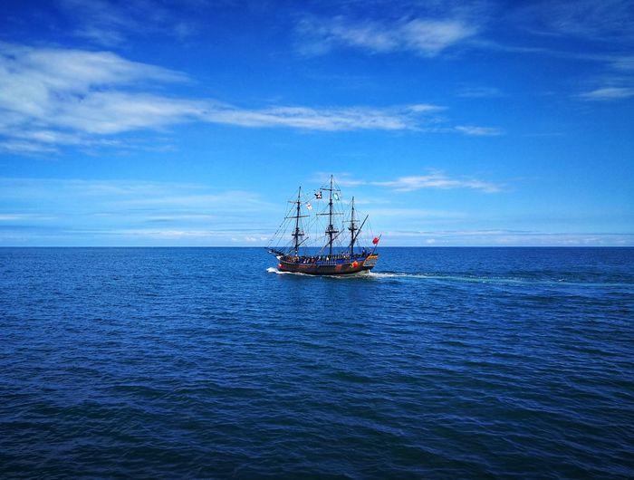 Jolly Roger Pirates! North Sea Coast P10 Plus Photography Tall Ship Nautical Vessel Sailing Ship Sea Water Sailing Blue Sky Horizon Over Water Seascape Mast Sailing Boat