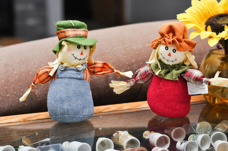 Fall Scarecrows and Thimbles on Display Autumn Decor Scarecrows Thanksgiving Art And Craft Decoration Doll Fall Figurine  Indoors  No People Statue Table Thimbles Toy