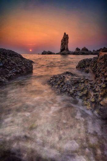 sunset Rocky Sea Sunset Water Beach Long Exposure Rock - Object Wave Sky Horizon Over Water Landscape Rocky Coastline Seascape Rushing