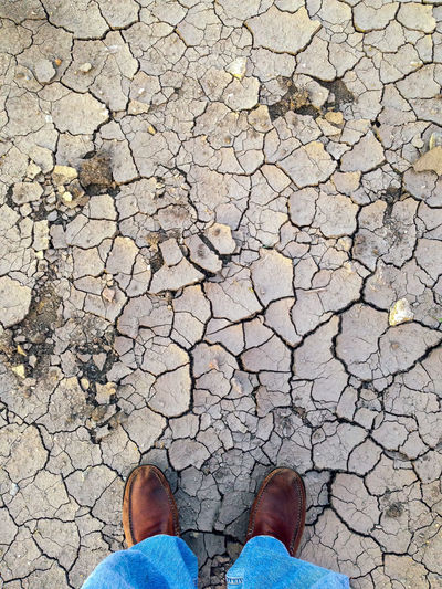 Arid Climate Cracked Day Dry Environmental Issues Global Warming Human Body Part Human Leg Low Section Nature One Person Outdoors People Real People Standing
