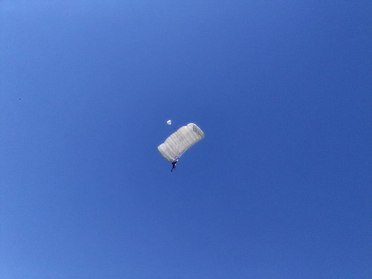 Paragliding Parachute Flying Blue Adventure Mid-air Sky Skydiving