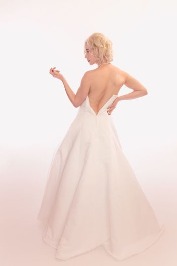 Women One Person White Background Fashion Studio Shot Wedding Bride Standing Full Length Dress Blond Hair Newlywed Wedding Dress Clothing Indoors  Beauty Young Adult