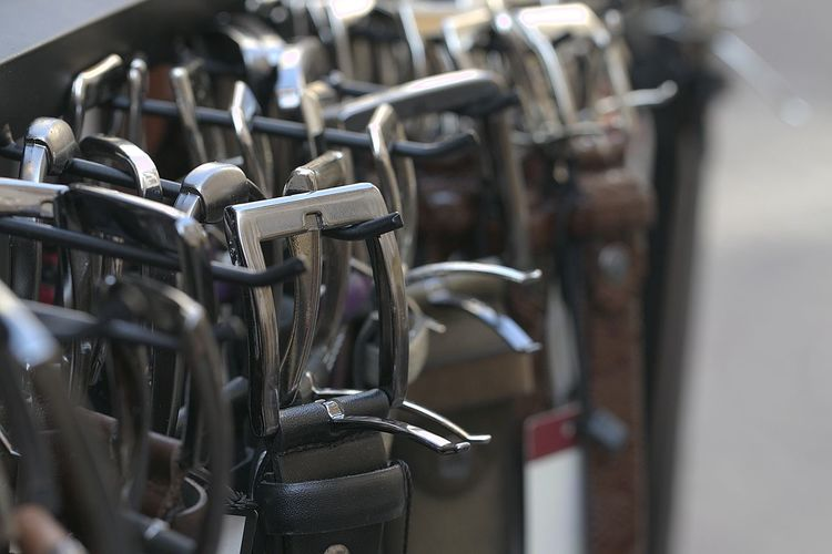 Close-up of bicycles on rack