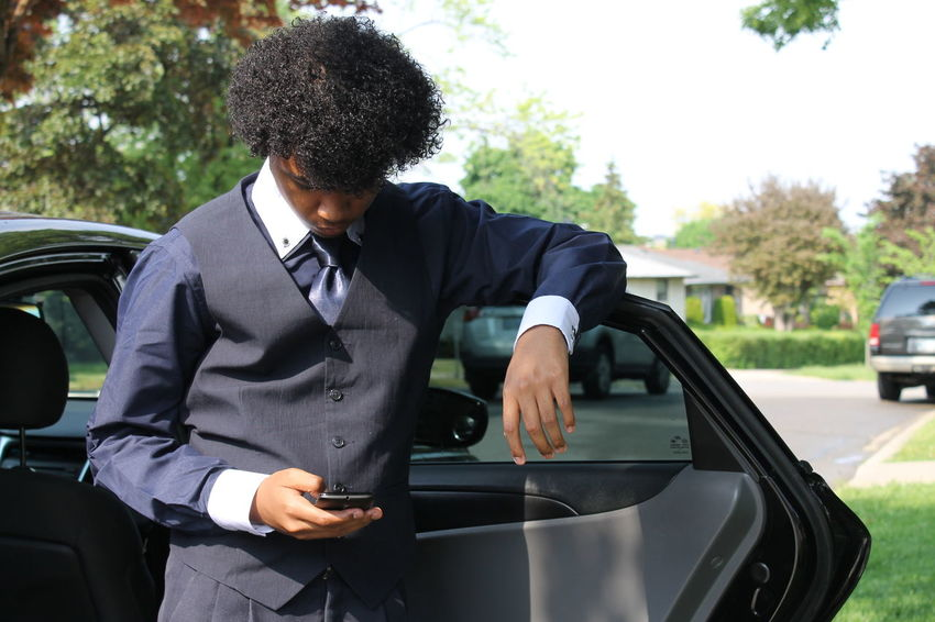 Adult Businessman Car Day Land Vehicle Men Mode Of Transport One Man Only One Person Outdoors People Prom Real People Standing Suit SundayBest Transportation Tree Well-dressed Young Adult