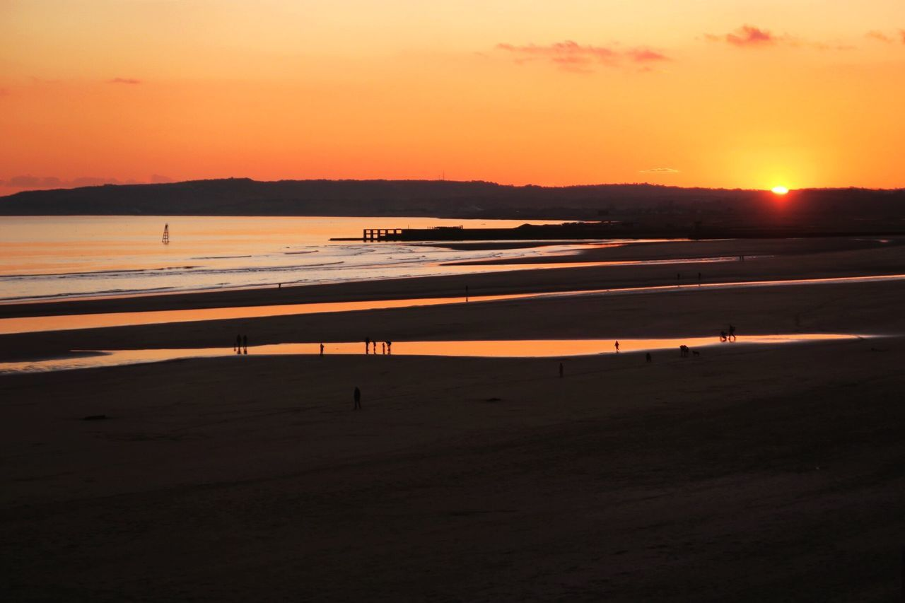 Scenic View Of Camber Sands During Sunset
