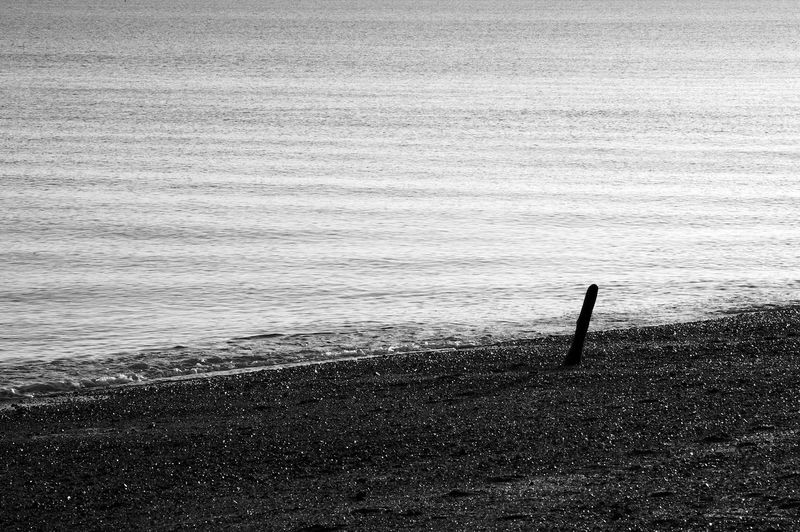 Sore Thumb Water Sea Tranquility Tranquil Scene Scenics - Nature Beach No People Outdoors Rippled Wooden Post Blackandwhite Black And White Black & White