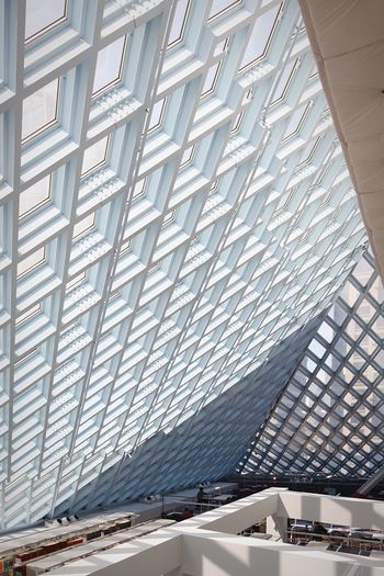Library Library Building Seattle Public Library Seattle Postwar Architecture Architectural Detail Postmodern Architecture Architectural Feature Architectureporn Architecture Contemporary Rem Koolhaas Built Structure Architecture Pattern Day No People Sunlight Ceiling Modern Glass - Material Building Metal