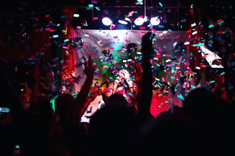 Gig Live LiveMusic Reggae Finale Confetti Everywhere! Confetti Explosion Confettirain Colour Capture The Moment Shadows Silhouettes Hyped Arts Culture And Entertainment Illuminated One Love Live Music Performance Musician Enjoyment Music Crowd Fun Cheering Nightlife