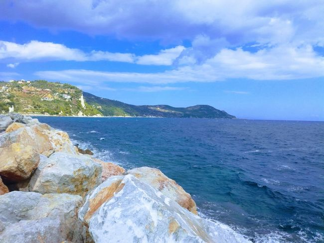 Sea Scenics Sky Water Cloud - Sky Rock - Object Day Mountain Blue Horizon Over Water No People Outdoors