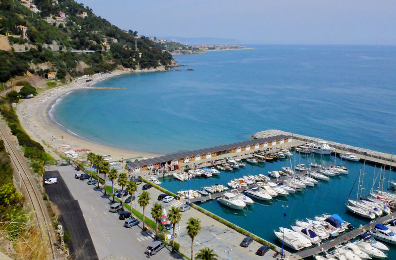 Port of Alassio Aerial View Alassio Beach Boat Coastline Going Sailing Harbor Harbour Italy Nautical Vessel Port Sailing Sand Sea Shore Top Perspective