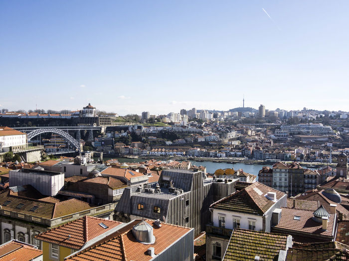 Cityscape with Douro river in Porto, Portugal Architecture Architecture_collection Cityscape Douro  Downtown Historic City Oporto Porto Portugal Riverside UNESCO World Heritage Site Douro River Maria Pia Bridge Port Wine Port Wine Cellars Ribeira Ribeira Quarter Unesco World Heritage