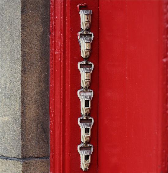 SIX DOORBELLS Close-up Contrasting Colors Day Door Door Bells Neighborhood Red Urban