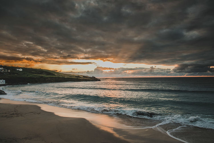 Beach Beauty In Nature Cloud - Sky Horizon Horizon Over Water Idyllic Land Motion Nature No People Scenics - Nature Sea Sky Sunset Tranquil Scene Tranquility Water Wave