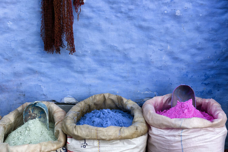 View of powder paints in sack for sale