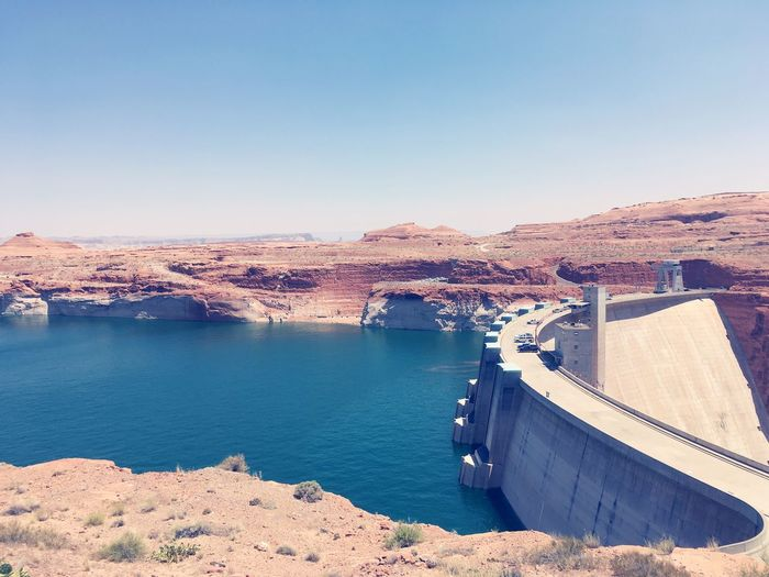 EyeEm Selects Dam Hydroelectric Power Water No People Nature Fuel And Power Generation High Angle View Built Structure Outdoors Day Architecture River Scenics Transportation Travel Destinations Clear Sky Blue Power Station Beauty In Nature Mountain Glen Canyon Dam Marble Canyon EyeEmNewHere