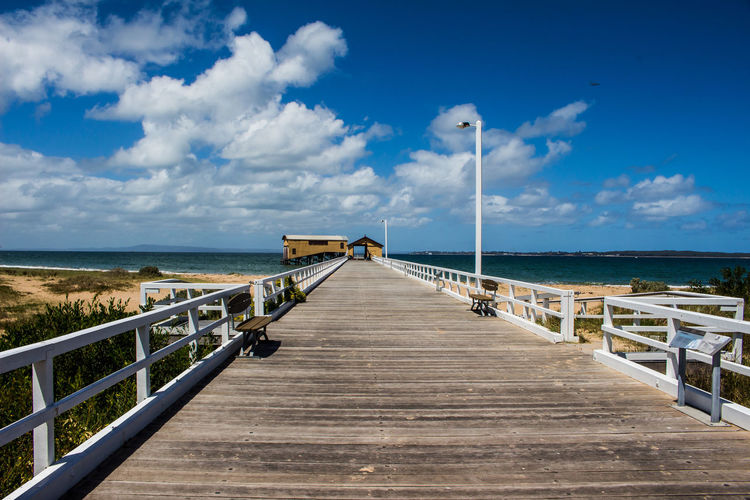 Queenscliff jettey Architecture Beach Beauty In Nature Built Structure Cloud - Sky Day Horizon Horizon Over Water Jetty Nature No People Outdoors Pier Queenscliff Railing Scenics Sea Sky The Way Forward Tranquil Scene Tranquility Travel Destinations Water Wood - Material Wood Paneling