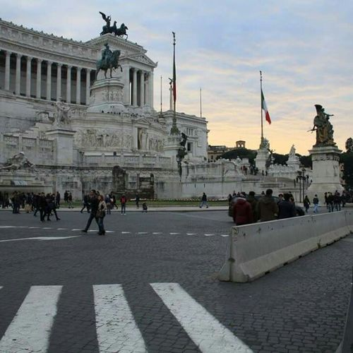 Rome Architecture Statue Sculpture Built Structure History City People Twilight Sky