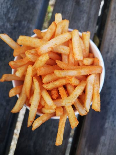 High angle view of fries on table