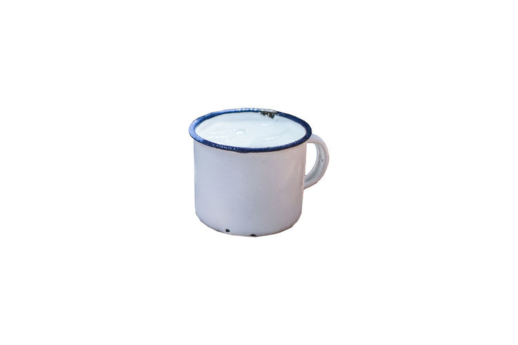 White and blue enamel rusty metal vintage mug on white background White Background Copy Space Studio Shot Single Object Indoors  Still Life Cut Out No People Close-up Metal Cup Food And Drink Refreshment Container Mug Drink Can High Angle View Handle Freshness Isolated Old Kitchen White Coffee Tea Object Isolated Vintage Blank Enamel Iron Closeup Clean Enameled Empty Pot Ceramic TeaCup Camping Camp Steel Crockery Aluminum Stainless Steel  Metallic Pastel Scratchy Used Chrome