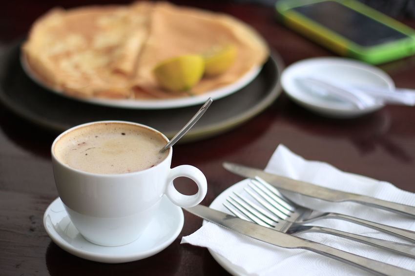 coffee with pancake Close-up Day Drink Food Food And Drink Fork Freshness Healthy Eating Indoors  No People Plate Ready-to-eat Table
